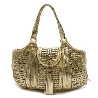 Anya Hindmarch Gold Woven-Leather Bag