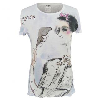 Chanel Coco-print white T-shirt