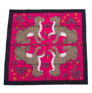 Hermes les leopards silk scarf