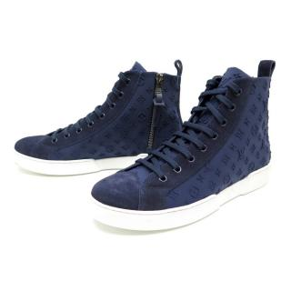 Louis Vuitton embossed-logo high-top trainers
