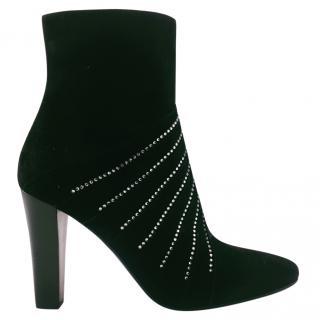 Saint Laurent Paris Lily Black Crystal-Embellished Ankle Boots