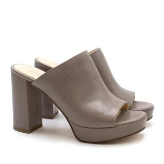Barneys New York Taupe-Grey Leather Mules