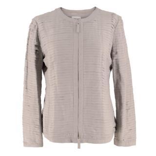 Armani Collezioni Grey Woven-Leather Jacket
