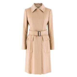 Sportmax Wool & Cashmere-blend Belted Camel Coat