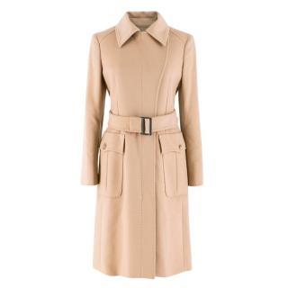 Sportmax Wool & Cashmere-blend Belted Camel Coat