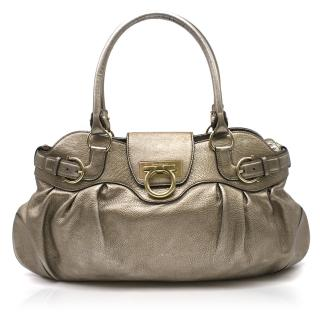 Salvatore Ferragamo metallic-pewter leather bag