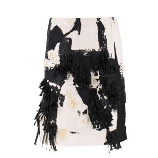 Donna Karan Black Label Embellished Cotton Skirt