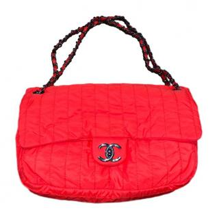 Chanel neon-orange classic timeless handbag