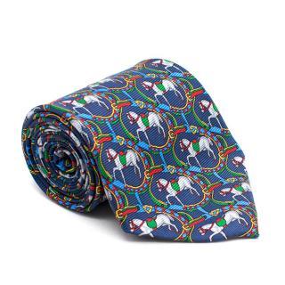 Goldlion Blue Horse-Print Silk-Twill Tie