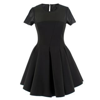 Maje Tulle-Yoke Black A-line Dress