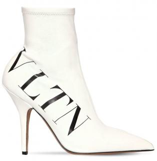 Valentino 80mm VLTN Stretch Faux Leather Ankle Boots