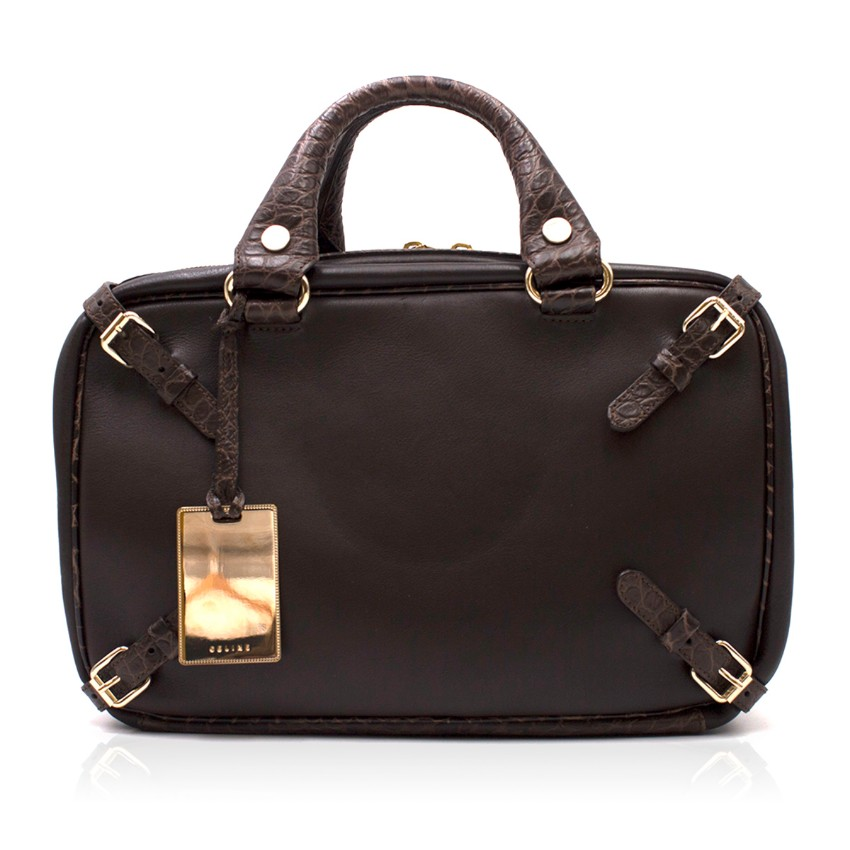 Celine vintage leather & crocodile-effect bowling bag