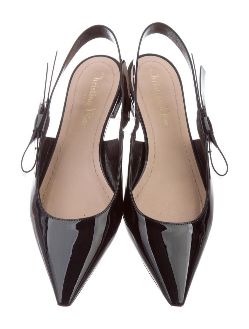 Dior J'adior Sweet D Black Bow Slingbacks