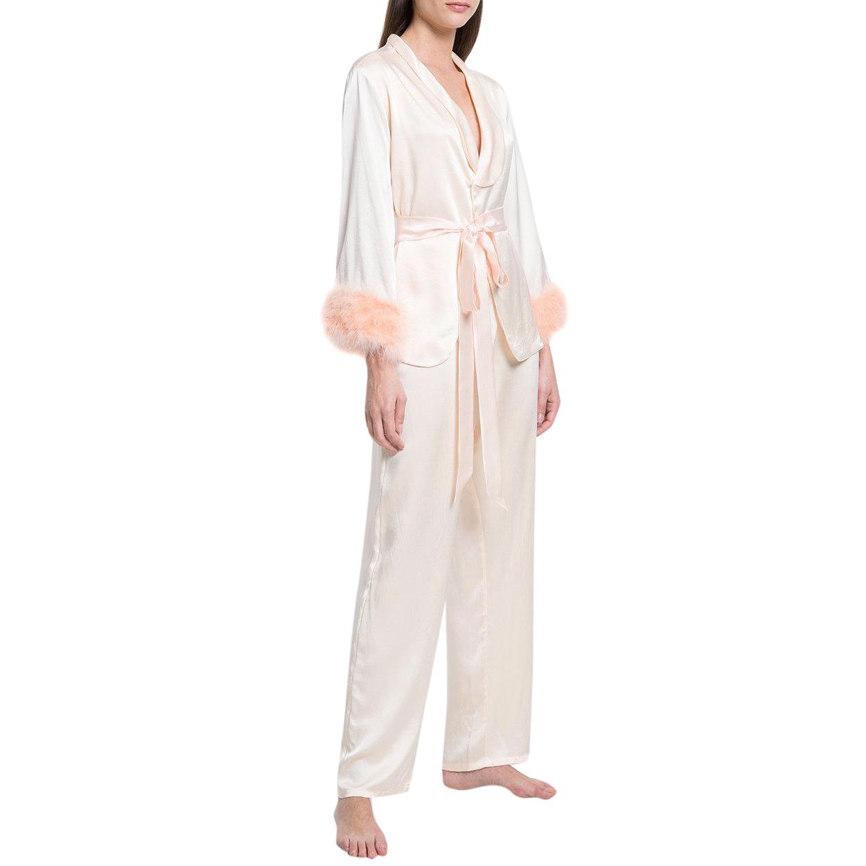 Maguy de Chadirac Peach Feather-Trimmed Pyjama Set
