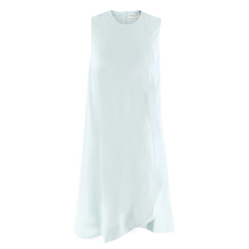 Balenciaga Powder-Blue Chiffon Shift Dress