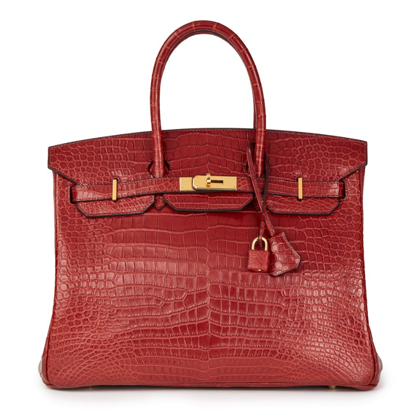 Hermes Rouge Porosus Crocodile Leather Birkin Bag 35cm
