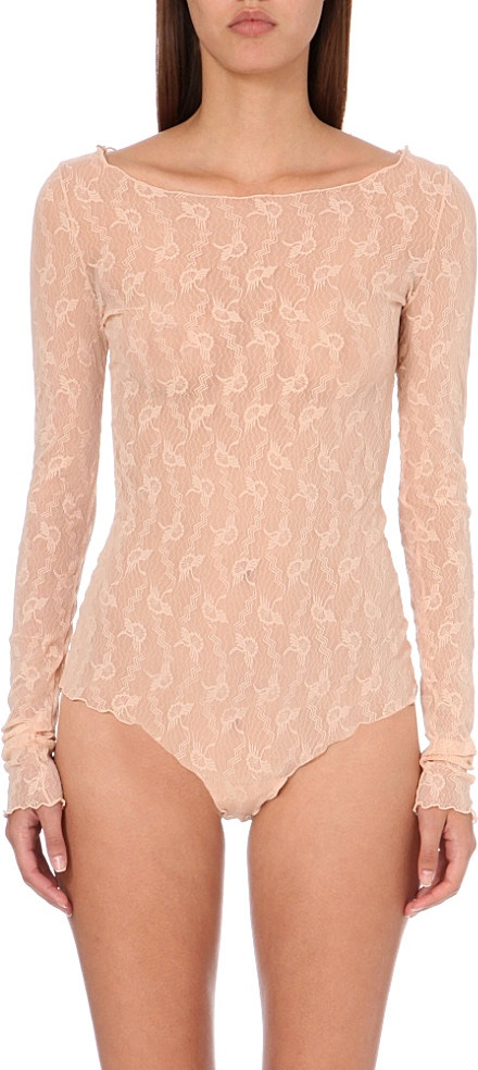 Wolford Lilie Lace Bellini String Bodysuit
