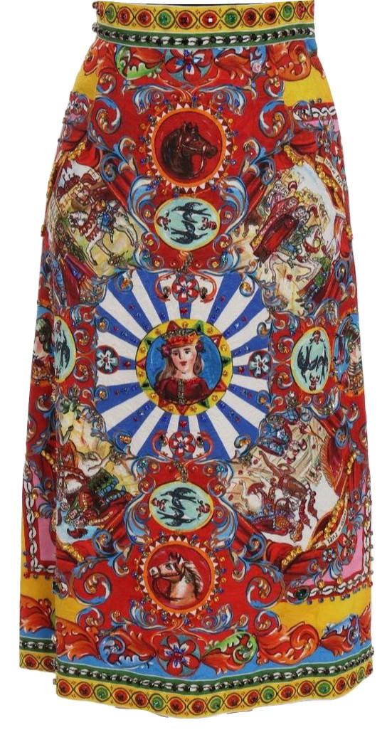 Dolce & Gabbana Red Carretto Print Skirt