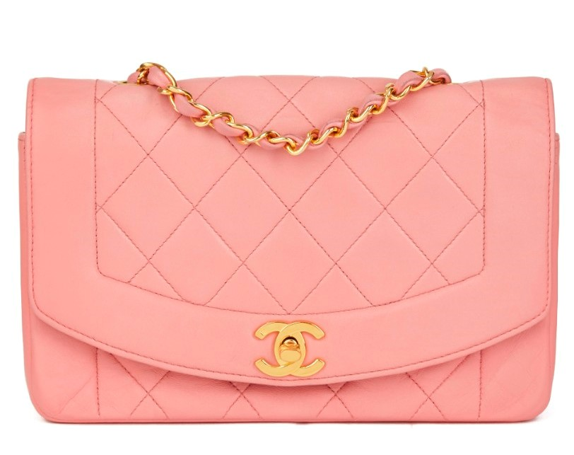 01777f428ff Chanel Pink Quilted Lambskin Vintage Small Diana Classic Flap Bag | HEWI  London