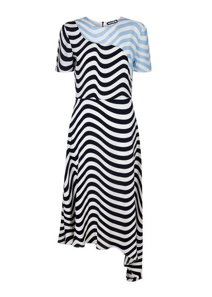 HOUSE of HOLLAND wave print assymetric crepe midi dress