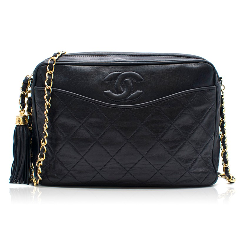 e8d182ec Chanel Vintage Navy Quilted Cross-Body Camera Bag