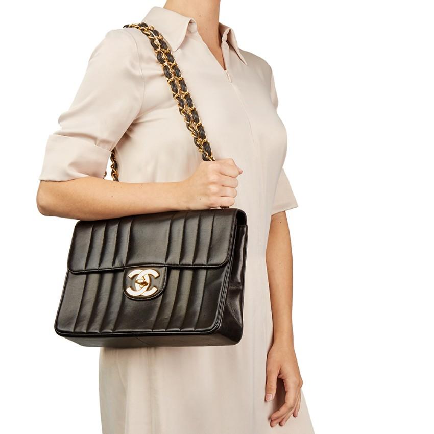 aafa5b12c61d Chanel Black Vertical Quilted Lambskin Vintage Jumbo XL Flap Bag. 36.  12345678910
