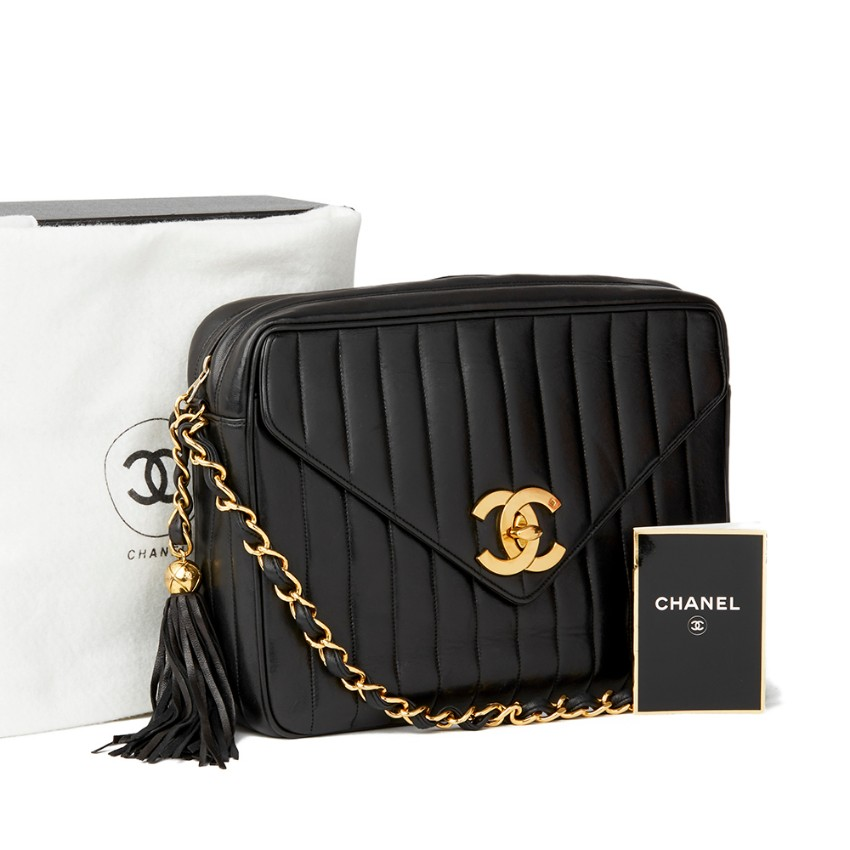 cb739c0e3b18c7 Chanel Black Vertical Quilted Lambskin Jumbo Xl Fringe Camera Bag | HEWI  London