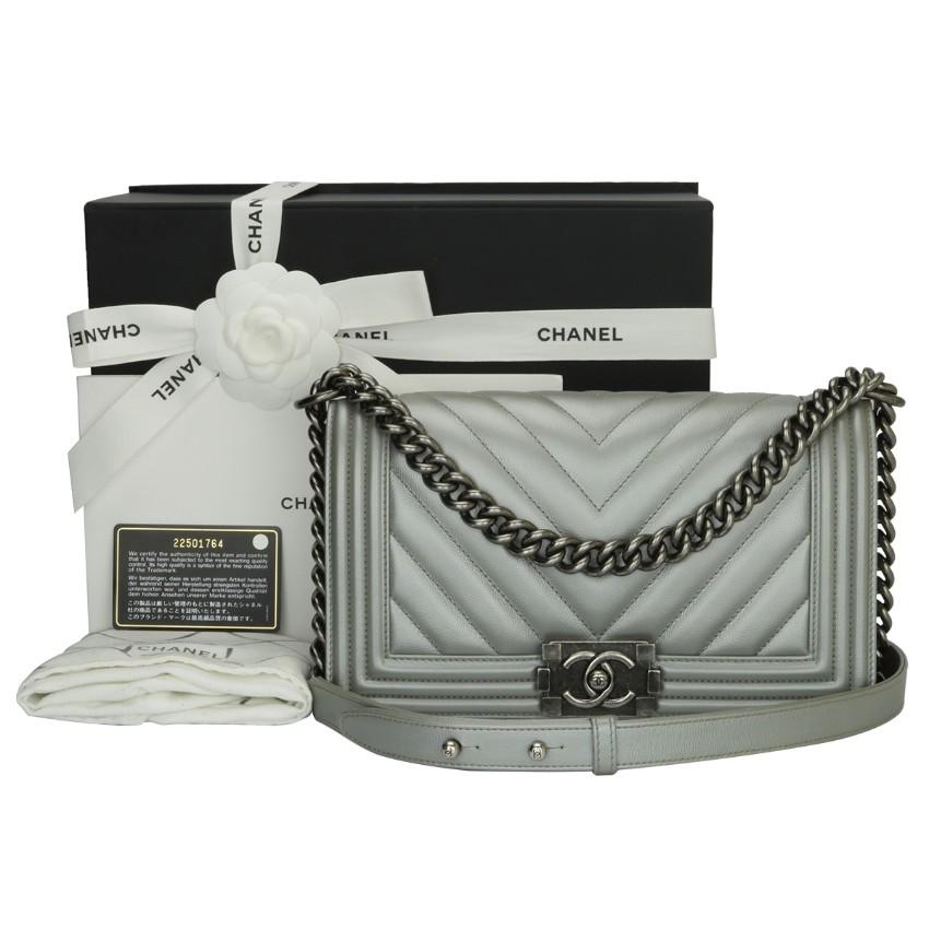 2bdf934ada4b Chanel Old Medium Silver Caviar Chevron Boy Bag | HEWI London