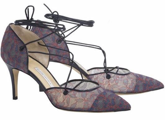 Bionda Castana 'Nicole' Dark Denim & Red Floral Lace Mid Heel Shoes