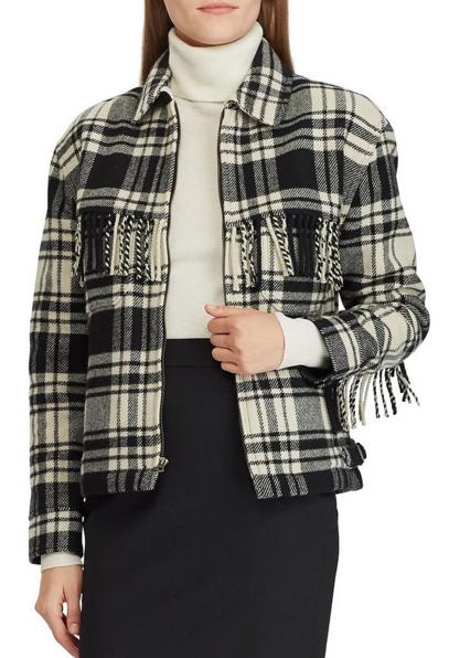 Polo Ralph Lauren Faye fringe-trimmed plaid shirt - AW18