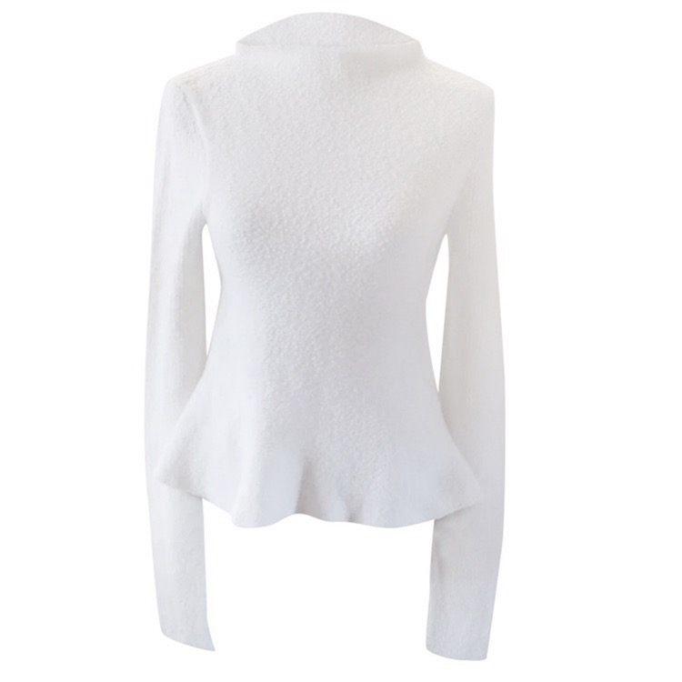 Victoria Beckham white wool extra long sleeve jumper