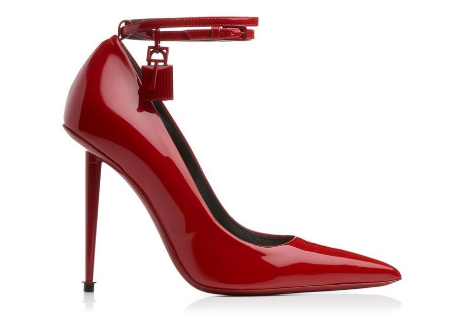 8e6b4471a2 Tom Ford Laquered Patent Padlock Pumps - Ruby Red. 12345678910
