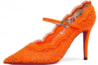 Gucci Neon Orange Virginia lace pumps