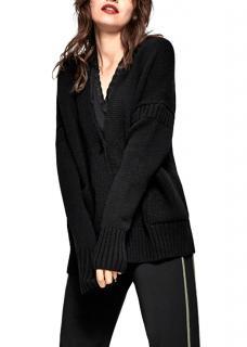 Me + Em Guernsey Black Merino Wool Cardigan
