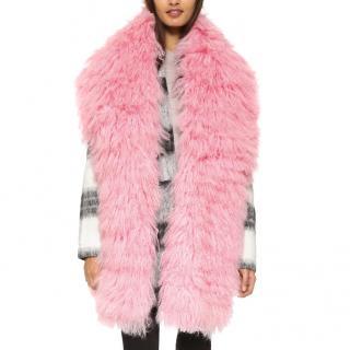 Charlotte simone pink Mongolian fur scarf