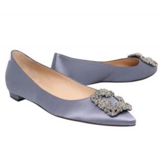 Manolo Blahnik Hangisi Grey Satin Flat Shoes