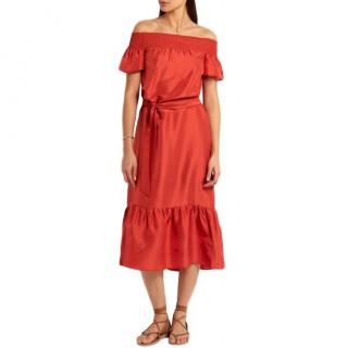 Tory Burch Ramona off-the-shoulder slub-silk midi dress