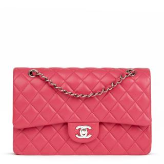 Chanel Fuchsia-Pink Quilted-Leather Medium Double Flap Bag