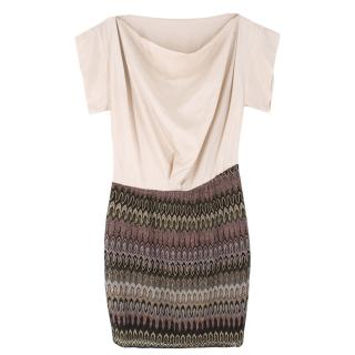 Missoni metallic-knit skirt draped dress