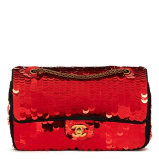 Chanel Red Sequin-Embelished Medium Classic Satin Bag