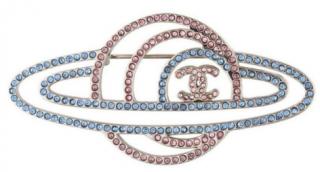 Chanel crystal-embellished planet brooch