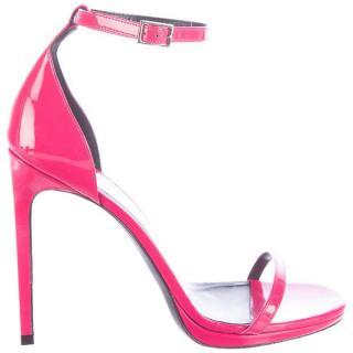 Yves Saint Laurent Jane Hot-Pink Patent Leather Sandals