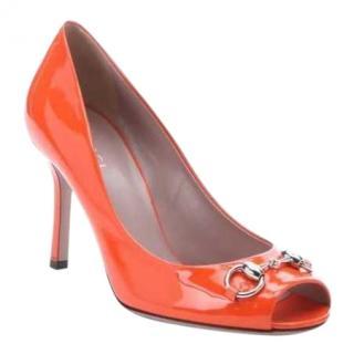 Gucci 'Jolene' horsebit peep-toe patent leather pumps
