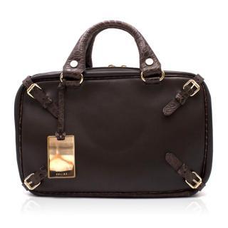 Celine vintage leather & crocodile-effect bowling bag
