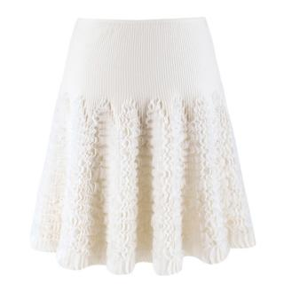 Alaia ivory ruffle-trimmed stretch-knit mini skirt