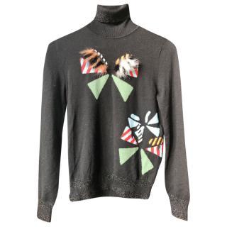 Fendi Monster fur-trimmed wool sweater