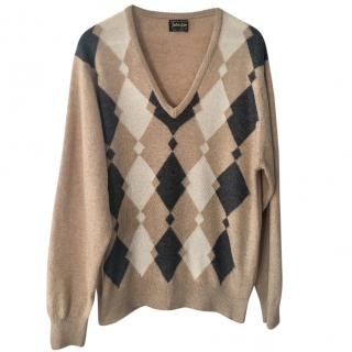 Johnstons of Elgin Argyle-Knit Cashmere Sweater