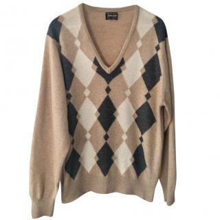 Johnstons of Elgin Argyle-Knit Cashmere Sweater