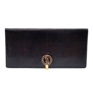 Gucci Vintage Navy Lizardskin Wallet