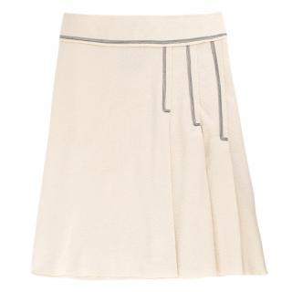 Sportmax Ivory Pleated Wool-Blend A-line Skirt